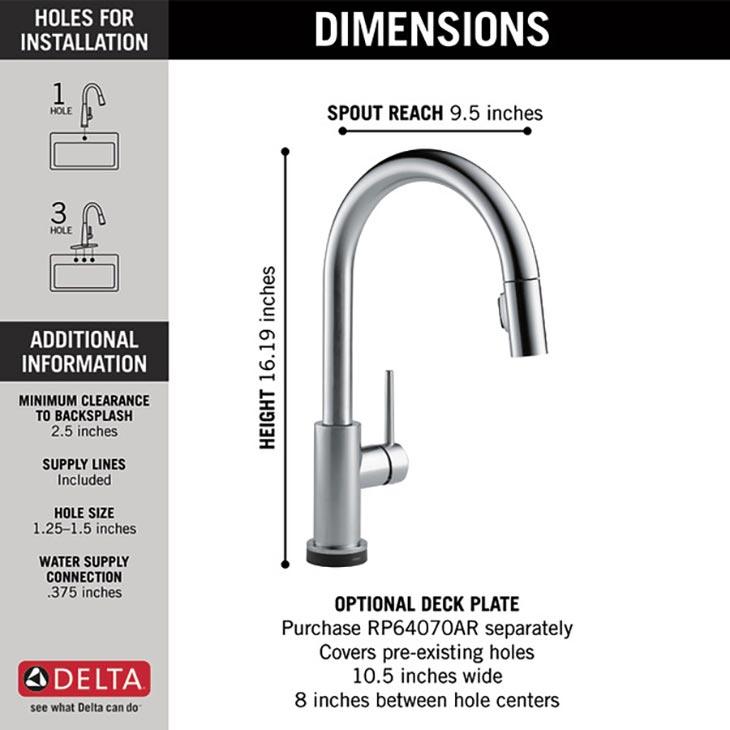 Delta 9159T-AR-DST Faucet Dimension